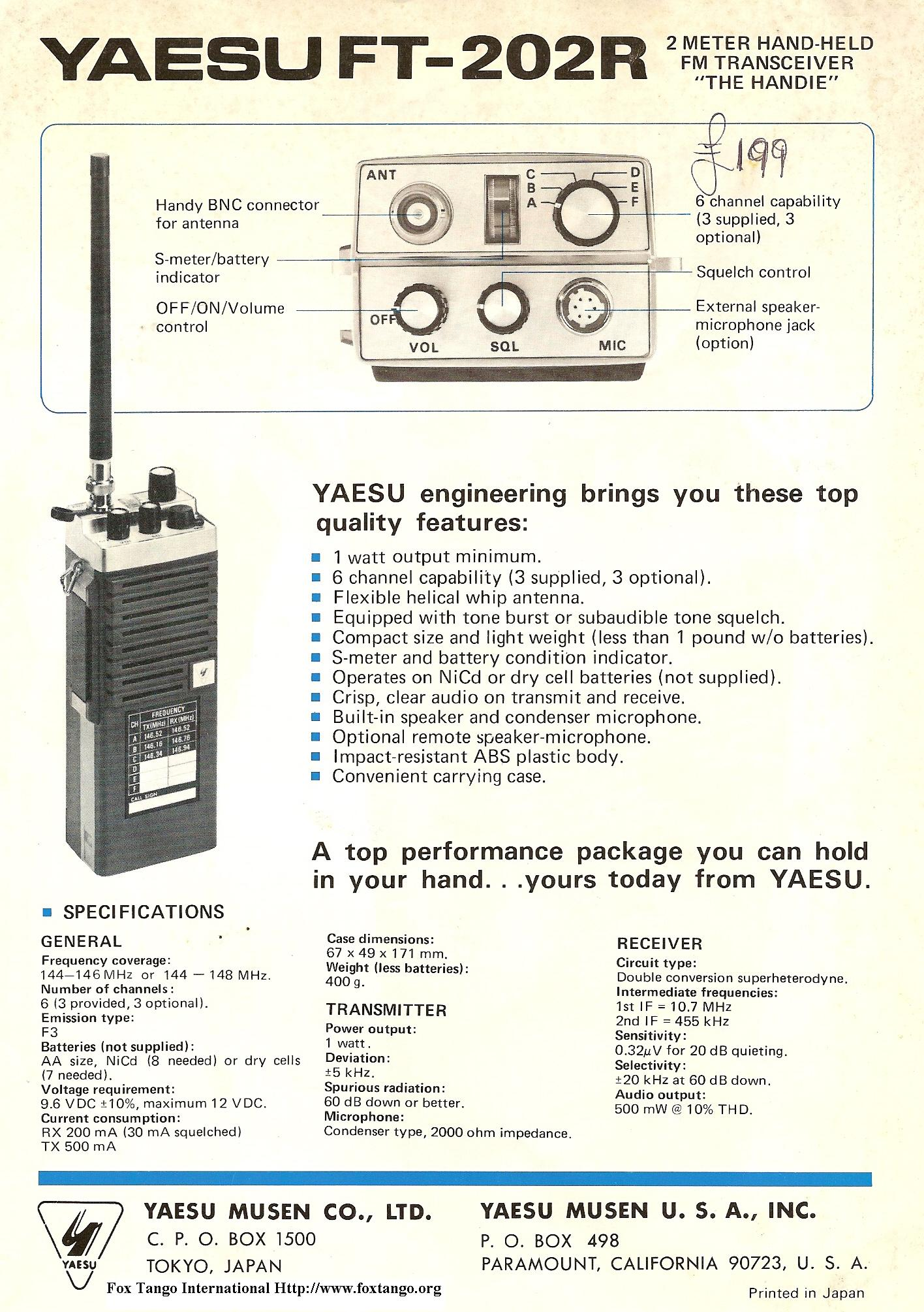 Yaesu Handheld Radios An Early Look 1970s 1980 Speaker Microphone Circuit In 1956 Was A Fledgling Company That Started By Its Founder Sako Hasegawa San From Modest Beginnings Small Home The Tokyo Suburbs